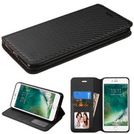 Book-Style Leather Folio Case for iPhone 8 / 7 - Carbon Fiber