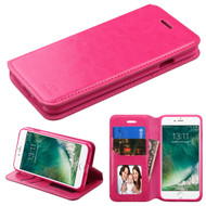 Book-Style Leather Folio Case for iPhone 8 / 7 - Hot Pink