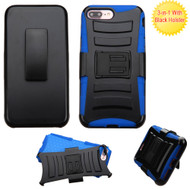 Advanced Armor Hybrid Kickstand Case with Holster for iPhone 8 Plus / 7 Plus - Black Blue