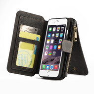 Luxury Coach Series Leather Wallet with Removable Magnet Case for iPhone 8 Plus / 7 Plus - Black