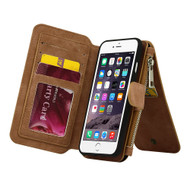 Luxury Coach Series Leather Wallet with Removable Magnet Case for iPhone 8 Plus / 7 Plus - Brown