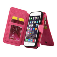 Luxury Coach Series Leather Wallet with Removable Magnet Case for iPhone 8 Plus / 7 Plus - Hot Pink