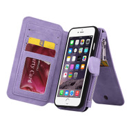 Luxury Coach Series Leather Wallet with Removable Magnet Case for iPhone 8 Plus / 7 Plus - Lavender