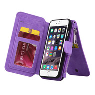 Luxury Coach Series Leather Wallet with Removable Magnet Case for iPhone 8 Plus / 7 Plus - Purple