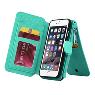 Luxury Coach Series Leather Wallet with Removable Magnet Case for iPhone 8 Plus / 7 Plus - Teal