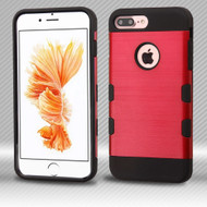 Military Grade Certified TUFF Trooper Dual Layer Hybrid Armor Case for iPhone 8 Plus / 7 Plus - Brushed Red