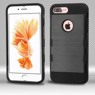 Military Grade TUFF Trooper Dual Layer Hybrid Armor Case for iPhone 8 Plus / 7 Plus - Brushed Black