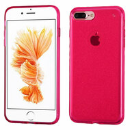 Premium Sparkling Sheer Glitter Candy Skin Cover for iPhone 8 Plus / 7 Plus - Hot Pink