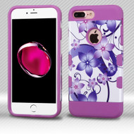 Military Grade TUFF Trooper Dual Layer Hybrid Armor Case for iPhone 8 Plus / 7 Plus - Purple Hibiscus Flower Romance