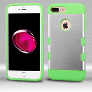 Military Grade TUFF Trooper Dual Layer Hybrid Armor Case for iPhone 8 Plus / 7 Plus - Brushed Silver Green