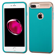 Bumper Frame Hybrid Case for iPhone 8 Plus / 7 Plus - Rose Gold Teal