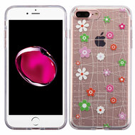 Premium Perforated Transparent Cushion Gelli Case for iPhone 8 Plus / 7 Plus - Tiny Blossoms