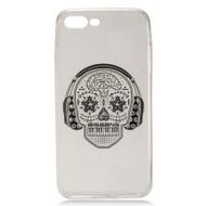 Diamond Transparent TPU Case for iPhone 7 Plus - Skull Headphones