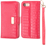 Crocodile Embossed Leather Wallet Case for iPhone 8 / 7 - Electric Pink
