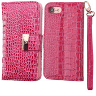 Crocodile Embossed Leather Wallet Case for iPhone 8 / 7 - Hot Pink