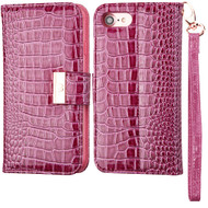 Crocodile Embossed Leather Wallet Case for iPhone 8 / 7 - Purple