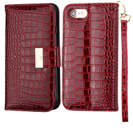 Crocodile Embossed Leather Wallet Case for iPhone 8 / 7 - Burgundy