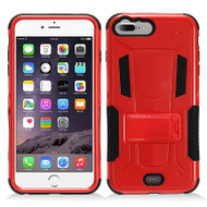 Transformer Hybrid Armor Case with Stand for iPhone 7 Plus - Red
