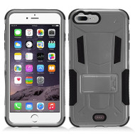 Transformer Hybrid Armor Case with Stand for iPhone 7 Plus - Grey
