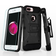3-IN-1 Kinetic Hybrid Armor Case with Holster and Tempered Glass Screen Protector for iPhone 7 Plus - Black