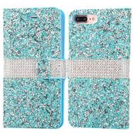 Round Brilliant Diamond Leather Wallet Case for iPhone 8 Plus / 7 Plus - Blue