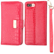 Crocodile Embossed Leather Wallet Case for iPhone 8 Plus / 7 Plus - Electric Pink