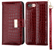 Crocodile Embossed Leather Wallet Case for iPhone 8 Plus / 7 Plus - Burgundy