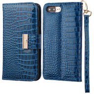 Crocodile Embossed Leather Wallet Case for iPhone 8 Plus / 7 Plus - Blue