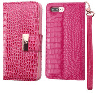 Crocodile Embossed Leather Wallet Case for iPhone 8 Plus / 7 Plus - Hot Pink