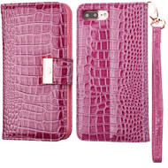Crocodile Embossed Leather Wallet Case for iPhone 8 Plus / 7 Plus - Purple
