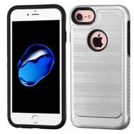 Brushed Multi-Layer Hybrid Armor Case for iPhone 8 / 7 - Silver