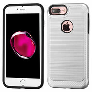 Brushed Multi-Layer Hybrid Armor Case for iPhone 8 Plus / 7 Plus - Silver