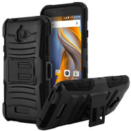 Advanced Armor Hybrid Kickstand Case with Holster for Coolpad Catalyst - Black