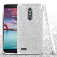 Full Glitter Hybrid Protective Case for ZTE Zmax Pro - Silver
