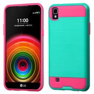 Brushed Hybrid Armor Case for LG K6 / X Power - Teal Hot Pink