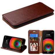 Book-Style Leather Folio Case for LG K6 / X Power - Brown