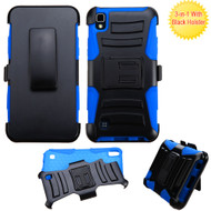 *SALE* Advanced Armor Hybrid Kickstand Case with Holster for LG K6 / X Power - Black Blue