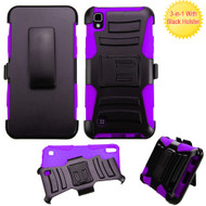 *SALE* Advanced Armor Hybrid Kickstand Case with Holster for LG K6 / X Power - Black Purple