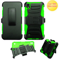 Advanced Armor Hybrid Kickstand Case with Holster for LG K6 / X Power - Black Green