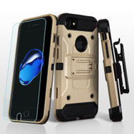 3-IN-1 Kinetic Hybrid Armor Case with Holster and Tempered Glass Screen Protector for iPhone 8 / 7 - Gold