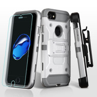3-IN-1 Kinetic Hybrid Armor Case with Holster and Tempered Glass Screen Protector for iPhone 8 / 7 - Silver Grey