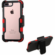 TUFF Vivid Hybrid Armor Case with Holster for iPhone 8 Plus / 7 Plus - Black Red