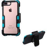 TUFF Vivid Hybrid Armor Case with Holster for iPhone 8 Plus / 7 Plus - Black Teal