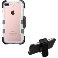 TUFF Vivid Hybrid Armor Case with Holster for iPhone 8 Plus / 7 Plus - White Grey