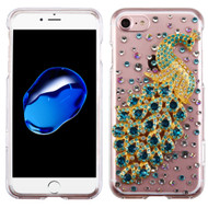 Crystal 3D Diamond Translucent Case for iPhone 8 / 7 - Peacock Turquoise