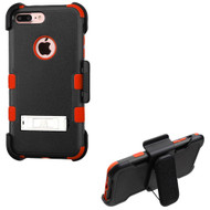 Military Grade TUFF Hybrid Armor Kickstand Case with Holster for iPhone 8 Plus / 7 Plus - Black Red