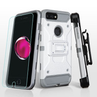 3-IN-1 Kinetic Hybrid Armor Case + Holster + Tempered Glass Protector for iPhone 8 Plus / 7 Plus - Silver Grey
