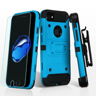 3-IN-1 Kinetic Hybrid Armor Case with Holster and Tempered Glass Screen Protector for iPhone 8 / 7 - Blue