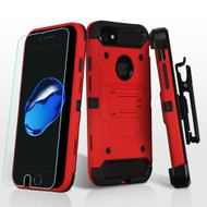 3-IN-1 Kinetic Hybrid Armor Case with Holster and Tempered Glass Screen Protector for iPhone 8 / 7 - Red