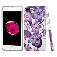 *Sale* Premium Graphic Rubberized Protective Gel Case for iPhone 8 Plus / 7 Plus - Purple Hibiscus Flower Romance